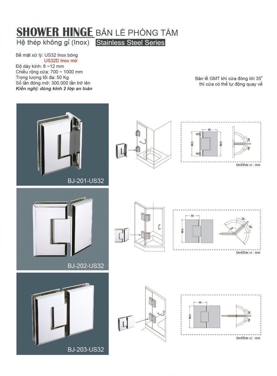Bản lề phòng tắm  BJ-202-US32, bản lề sàn gmt, bản lề phòng tắm gmt, giá bản lề sàn gmt, phu kien nhôm kính