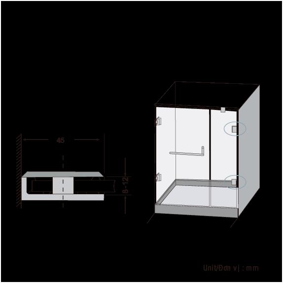 Kẹp Kính Phòng Tắm  BJ-801-US32 , Bản Lề Sàn, Bản Lề SÀn GMT, Tay Nắm Cửa, Bản Lề Sàn Thái
