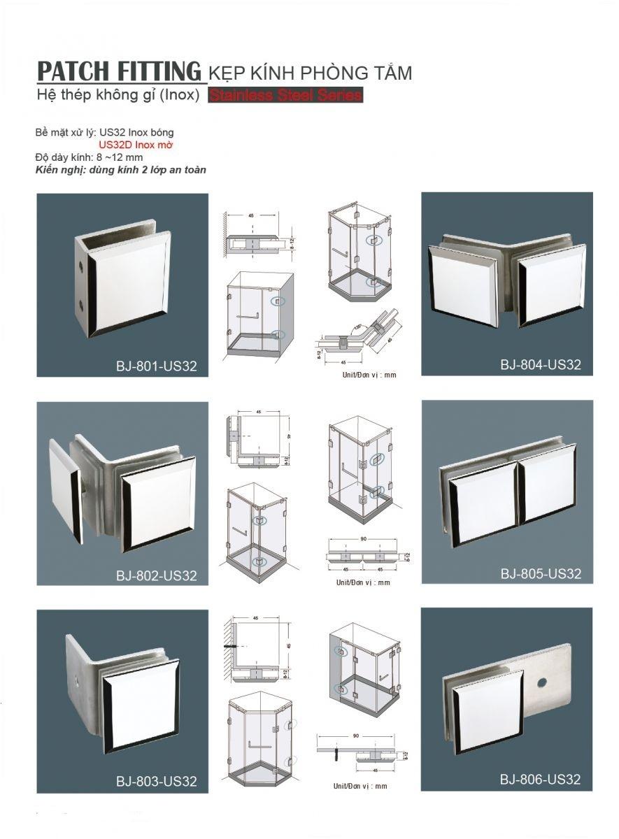 Kẹp Kính Phòng Tắm  BJ-801-US32 , Phụ kieneh nhôm kính , Bản lề sàn, Vách Ngăn Vệ Sinh, Phòng Tắm Kính