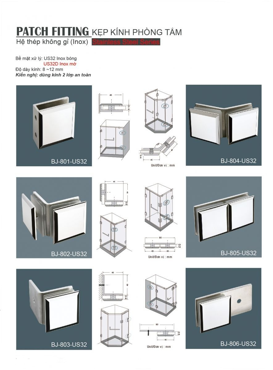Kẹp Kính Phòng Tắm  BJ-802-US32 , bản lề sàn phòng tắm kính, kẹp kính gmt, phụ kiện nhôm kính gmt, tay nắm cửa gmt