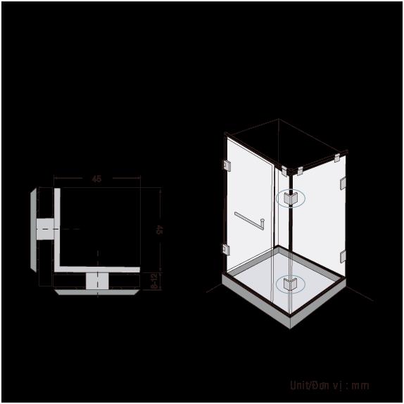 Kẹp Kính Phòng Tắm  BJ-802-US32 , kẹp kính gmt, kẹp đỉnh gmt, phụ kiện nhôm kính gmt, bản lề sàn gmt, phụ kiện phòng tắm kính gmt