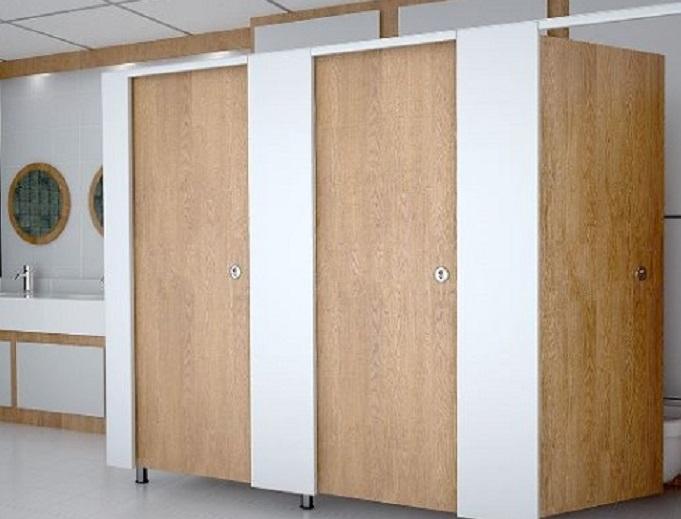 Vách ngăn di động, vách ngăn vệ sinh compact, vách ngăn vẹ sinh vân gỗ, vách ngăn